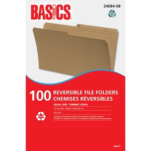 Basics® Reversible File Folders Legal Kraft 100/box