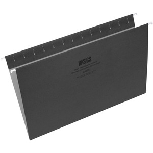 Basics® Coloured Hanging Folders Legal Black 25/box