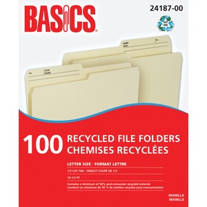 Basics® Recycled Reversible File Folders Letter Manilla 100/box