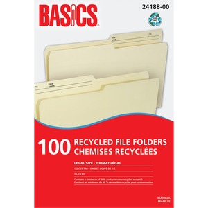 Basics® Recycled Reversible File Folders Legal Manilla 100/box