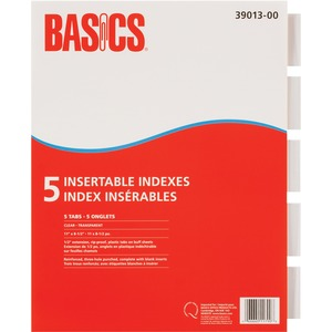 Basics® Insertable Indexes Clear 5 Tabs