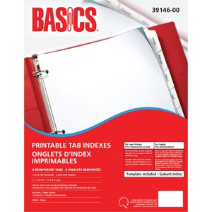 Basics® Printable Tab Indexes Laser 8-Tabs 5 sets/pkg