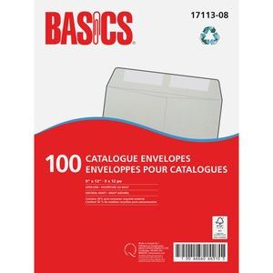 """Basics® Catalogue Envelopes Natural Kraft 9"""" x 12"""" 100/box"""