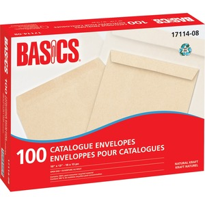 "Basics® Catalogue Envelopes Natural Kraft 10"" x 13"" 100/box"