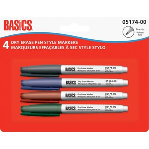 Basics® Dry Erase Pen Style Markers Fine Assorted Colours 4/pkg