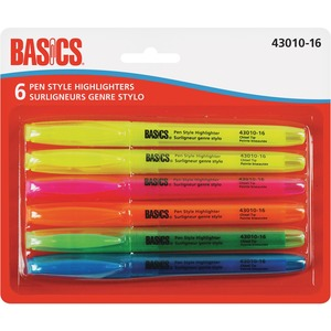 Basics® Pen Style Highlighters Assorted Colours 6/pkg