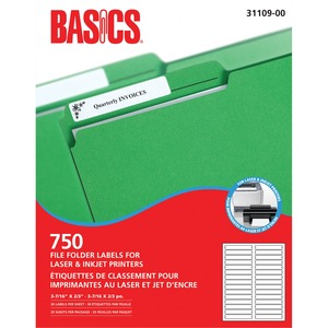 Basics® File Folder Labels for Laser and Inkjet Printers (750 Labels) 25 sheets/box