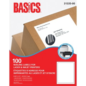 """Basics® Mailing Labels for Laser Printers 8-1/2"""" x 11"""" White (100 Labels) 100 sheets/box"""