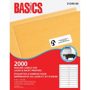 "Basics® Mailing Labels for Laser Printers 4"" x 1"" White (2,000 Labels) 100 sheets/box"