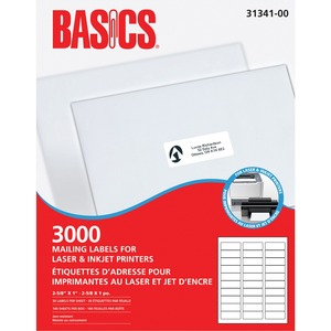 "Basics® Mailing Labels for Laser Printers 2-5/8"" x 1"" White (3,000 Labels) 100 sheets/box"