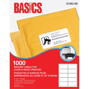 "Basics® Mailing Labels for Laser Printers 4"" x 2"" White (1,000 Labels) 100 sheets/box"