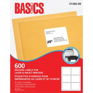 "Basics® Mailing Labels for Laser Printers 4"" x 3-1/3"" White (600 Labels) 100 sheets/box"