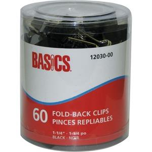 "Basics® Fold-Back Clips 1-1/4"" 60/tub"