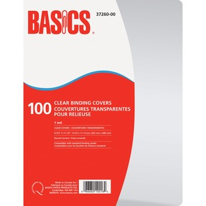 "Basics® Clear Binding Covers 7 mil 11-1/4"" x 8-3/4"" 100/pkg"