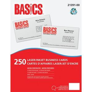 Basics® Business Cards Laser & Inkjet White 250/pkg