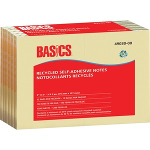 "Basics® Recycled Self-Adhesive Notes 3"" x 5"" 100 sheets per pad Yellow 12 pads/pkg"