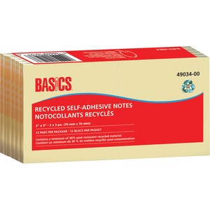"Basics® Recycled Self-Adhesive Notes 3"" x 3"" 100 sheets per pad Yellow 12 pads/pkg"