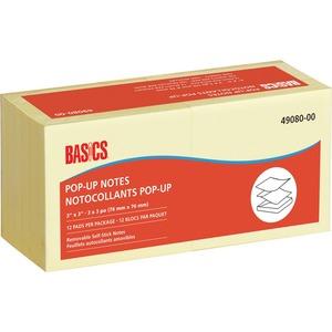 "Basics® Pop-up Notes 3"" x 3"" 100 sheets per pad Yellow 12 pads/pkg"
