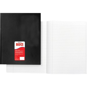 """Basics® Hard Cover Flush-Cut Notebook 9"""" x 7-1/4"""" 192 pages Black"""