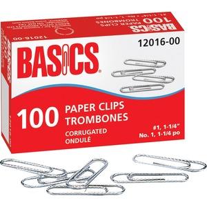 "Basics® Paper Clips #1, 1-1/4"" 100 per box 10 boxes/pkg"