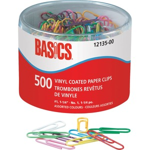 "Basics® Vinyl Coated Paper Clips #1 1-1/4"" 500/tub"
