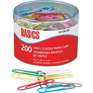 "Basics® Vinyl Coated Paper Clips #4 2"" 200/tub"