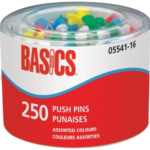 Basics® Push Pins Assorted 250/tub