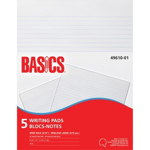 Basics® Writing Pad Wide Rule Letter 96shts 5 pads/pkg
