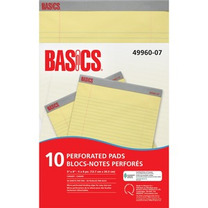 "Basics® Perforated Pads 5x8"" Canary 50shts/pad 10 pads/pkg"