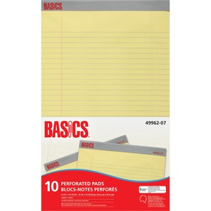 "Basics® Perforated Pads 8-1/2x13-15/16"" Canary 50shts/pad 10 pads/pkg"
