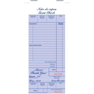 Blueline® Restaurant Order Book 100 sheets Bilingual 10 pads/pkg