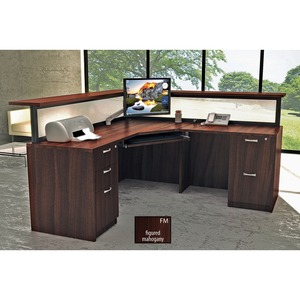 Star Zeta Reception L-Desk Left or Right Reversible Figured Mahogany Finish