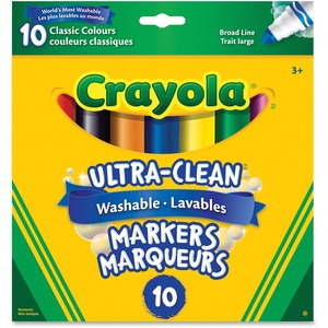 Crayola® Ultra-Clean Washable Markers Broad Tip Original Colours 10/pkg