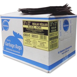 "Ralston 2600 Series EcoLogo Industrial Garbage Bags Regular 20"" x 22"" Black 500/ctn"