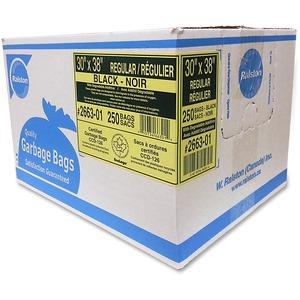 "Ralston 2600 Series EcoLogo Industrial Garbage Bags Regular 30"" x 38"" Black 250/ctn"