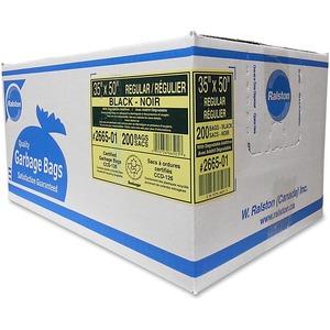 "Ralston 2600 Series EcoLogo Industrial Bags Regular 35"" x 50"" Black 200/ctn"