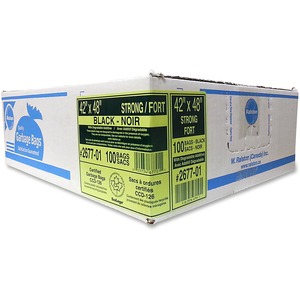 """Ralston 2600 Series EcoLogo Industrial Garbage Bags Strong 42"""" x 48"""" Black 100/ctn"""