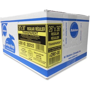"Ralston 2900 Series EcoLogo Industrial Garbage Bags Regular 26"" x 36"" Transparent 250/ctn"