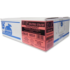 "Ralston 2900 Series EcoLogo Industrial Extra Strong Garbage Bags 35"" x 50"" Clear 100/ctn"