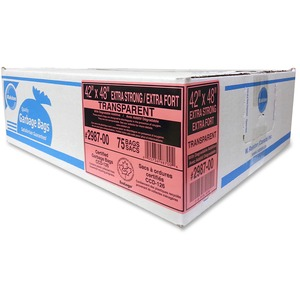 """Ralston 2900 Series EcoLogo Industrial Garbage Bags Extra Strong 42' x 48"""" Clear"""