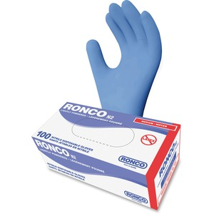 RONCO N2 General Purpose Nitrile Gloves Powdered Medium Blue 100/Box
