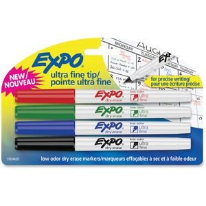 Expo® Low Odour Dry Erase Markers Ultra Fine Assorted Colours 4/pkg