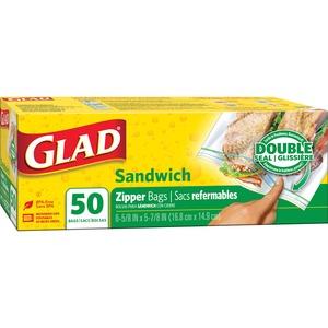 Glad® Sandwich Bags Zipper 50 bags/box