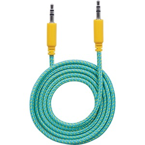 Manhattan 3.5mm Stereo Male to Male, Teal/Yellow, 1 m (3 ft.)