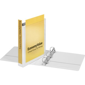 "Cardinal EconomyValue™ ClearVue™ Slant-D® Ring Binder, 1.5"", White, W/Packaging"