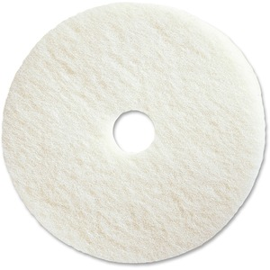 "Genuine Joe Polishing Floor Pad - 20"" Diameter - 5/Carton x 20"" Diameter x 1"" Thickness - Fiber - White"