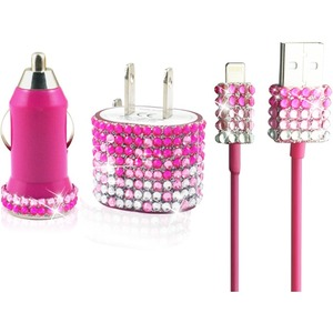 Charger Set IPhone 5/5s/5c Glitter Rhinestone Car Charger / Mfr. No.: I5set-Pnk