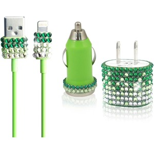 Charger Set IPhone 5/5s/5c Glitter Rhinestone Car Charger / Mfr. No.: I5set-Grn