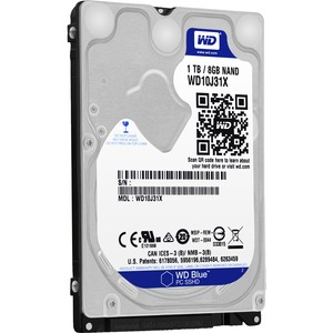 1tb Blue Laptop Sshd SATA 6gb/S 8gb/Fl 2.5in Internal Bare Driv / Mfr. No.: Wd10j31x