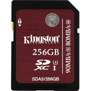 256gb Sdxc Uhs-I Speed Class 3 90mb/S Read 80mb/S Write Flash / Mfr. No.: Sda3/256gb